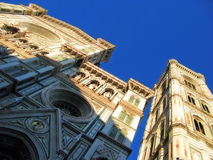 The Cathedral in Florence. View from bottom of the cathedral of Santa Maria del Fiore in Florence, Italy royalty free stock photography