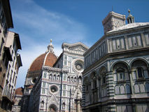Cathedral of Florence and the Baptistery of St. John. Urban ensemble in the historical city center of florence stock image