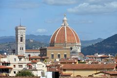 Cathedral of Florence and the Giottos campanile - Italy. View from the Boboli Gardens to the Cathedral of Santa Maria del Fiore and the Giottos campanile of Royalty Free Stock Image