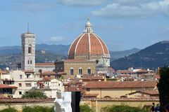 Cathedral of Florence and the Giottos campanile - Italy. View from the Boboli Gardens to the Cathedral of Santa Maria del Fiore and the Giottos campanile of Stock Photos