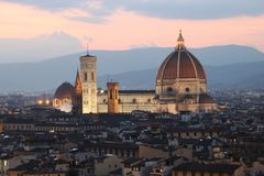 Cathedral in Florence Italy at dusk Royalty Free Stock Photo
