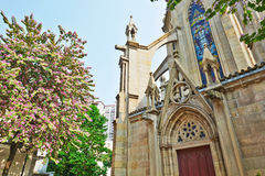 Cathedral and flower trees Stock Photo