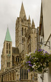 Cathedral and flowers, Truro Stock Photo