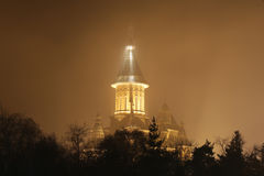 Cathedral in foggy night Stock Photography