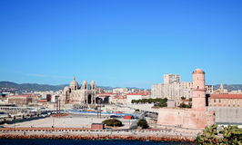 The Cathedral and Fort Saint-Jean in Marseille Royalty Free Stock Images