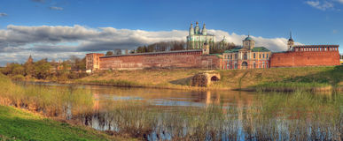 Cathedral and fortification behind the river Royalty Free Stock Photography