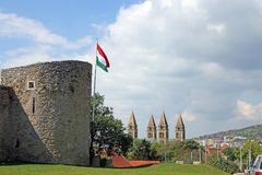 Cathedral and fortress tower with Hungarian flag Pecs. Hungary Stock Image