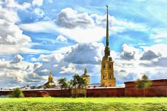 Cathedral and fortress wall of the Peter and Paul Fortress in St. Petersburg in Russia royalty free illustration