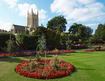 Cathedral and Gardens. View through the famous Abbey Gardens to Edmundsbury Cathedral in Bury St Edmunds, Suffolk Stock Photo