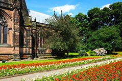 Cathedral and gardens, Chester. Royalty Free Stock Photo