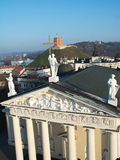 Cathedral, Gediminas Hill and three crosses from above Royalty Free Stock Photography