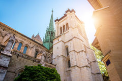 Cathedral in Geneva city. Saint Pierre church in the old town of Geneva city in Switzerland Royalty Free Stock Image