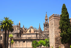 Cathedral and Giralda Tower of Seville, Spain. Cathedral and La Giralda Tower of Seville, Spain Stock Images