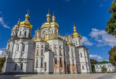 Cathedral with golden domes in the Kiev Pechersk Lavra Stock Images