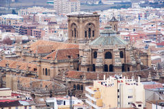 Cathedral of granada. A view of the cathedral of Granada, from the alhambra palace Stock Image