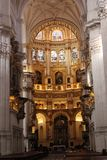 Cathedral of Granada, Andalusia, Spain. Renaissance cathedral, Granada, Andalusia, Spain. Main cathedral interio and altar in Granada, Spain. One of the main Stock Photo