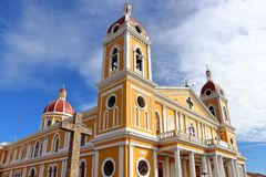 Cathedral of Granada in the backdrop of blue sky, Nicaragua. stock images