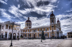 Cathedral of Granada, Nicaragua. The beautiful Cathedral of Granada in Granada, Nicaragua. Granada was founded in 1524 and it`s the first European city in stock image