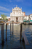 Cathedral on Grand canal. Venice Cathedral on Grand canal with boat quay, Italy Stock Photos