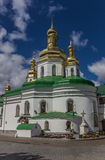 Cathedral with green roof in the Kiev Pechersk Lavra Stock Images