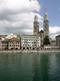 Cathedral Grossmunster in Zurich. Romanesque cathedral Grossmunster on the river Limmat, Zurich, Switzerland Royalty Free Stock Photos