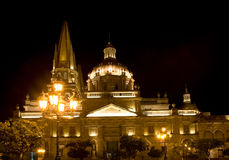 Cathedral Guadalajara Mexico at Night Stock Images