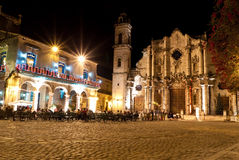 The Cathedral of Havana at night Royalty Free Stock Photography