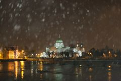 Cathedral during Heavy snowfall. Royalty Free Stock Photos
