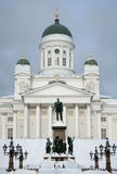 Cathedral of Helsinki and Statue of Alexander II Stock Image