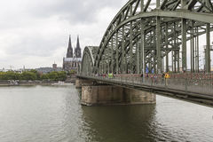 Cathedral and Hohenzollern Bridge - Cologne, Germany stock photography