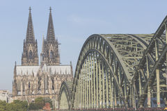 Cathedral and Hohenzollern Bridge - Cologne, Germany Royalty Free Stock Photography