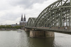 Cathedral and Hohenzollern Bridge - Cologne, Germany Royalty Free Stock Photo