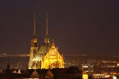 Cathedral in Brno. Cathedral of holly Petr and Pavel in Brno city Royalty Free Stock Images
