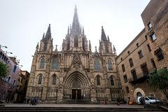 Cathedral of the Holy Cross and Saint Eulalia in Barcelona Stock Photo