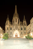 Cathedral of the Holy Cross and Saint Eulalia at night. Barcelona Stock Photos