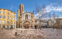 The Aix Cathedral in Aix-en-Provence, France. The Cathedral of the Holy Saviour in Aix-en-Provence, Bouches-du-Rhone, France Stock Images