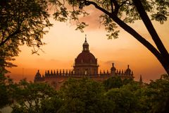 Cathedral of the Holy Saviour in Jerez de la Frontera. Photograph of the Cathedral of the Holy Saviour in Jerez de la Frontera in sunset, catolic church, Jerez stock image