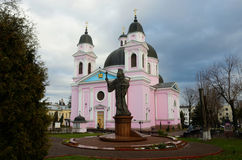 Cathedral of Holy Spirit with monument to first Metropolitan of Bukovyna,Ukraine Stock Photos