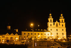 Cathedral of Holy Spirit at night in Minsk, Belarus Royalty Free Stock Photography