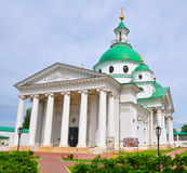 Cathedral in honor of St. Dmitri of Rostov. Rostov, Russia. White church with green domes. Built in a classic style Stock Images