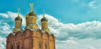 Cathedral of the Icon of the Mother of God. Golden domes. Moscow, Varvarka Street. Cathedral of the Icon of the Mother of God. A sign in the Znamensky Monastery Stock Photography