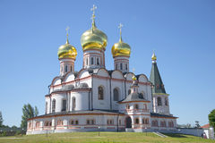The Cathedral of the Icon of the Mother of God Iveron . Svyatoozersky Valdai Iversky Bogoroditsky monastery Royalty Free Stock Photos