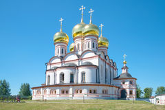 Cathedral of the Icon of the Mother of God Iverskaya close up. Valdai Iversky Svyatoozersky Bogorodits Stock Photography