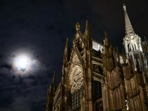 Cathedral illuminated at night Stock Image