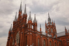 Cathedral of the Immaculate Conception of the Blessed Virgin Mary Moscow. Neo-Gothic cathedral Stock Photo