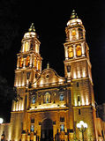 Cathedral of the Immaculate Conception in Campeche. Cathedral of the Immaculate Conception at night, Campeche, Yucatan stock photo