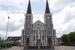 Cathedral of the Immaculate Conception in Chantaburi Thailand. With a statue of the Virgin Mary at the front stock photos