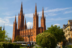 Cathedral In Wiesbaden Stock Photo