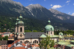 Cathedral of Innsbruck. Overview on the Cathedral of Saint James in Innsbruck, Austria Royalty Free Stock Images