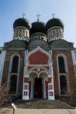The Cathedral of the intercession of the blessed virgin, the entrance gate. Izmailovo, Moscow. stock image